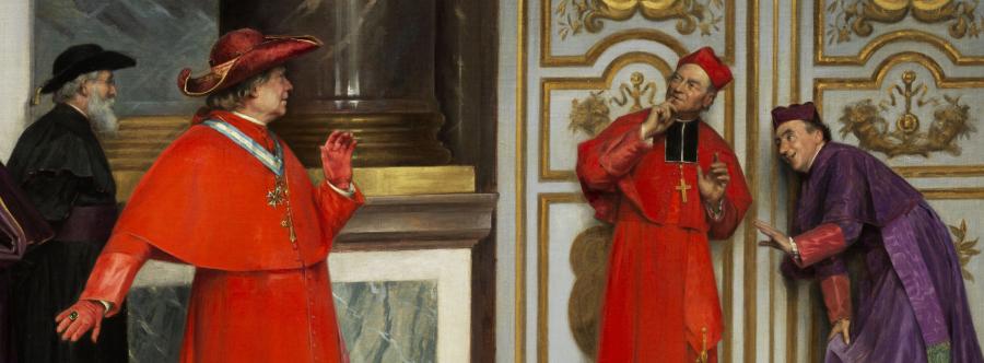 Henri Adolphe Laissement kuvasi salakuuntelevia kardinaaleja vuonna 1895. Yksityiskohta maalauksesta.